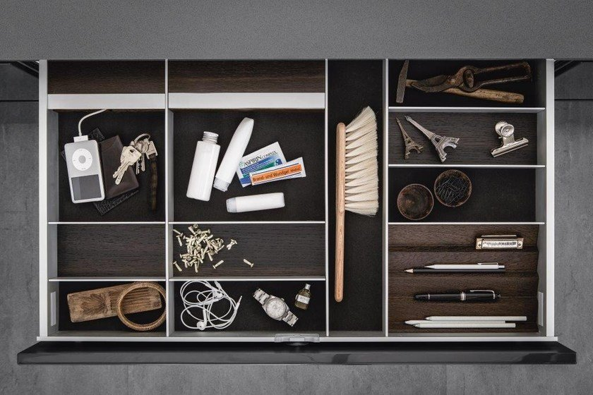 Aluminium and wood Drawer insert Sliding drawer system by SieMatic