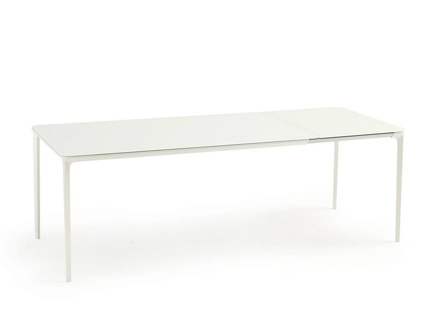 Extending glass and aluminium table SLIM EXTENSIBLE | Glass table by Sovet italia