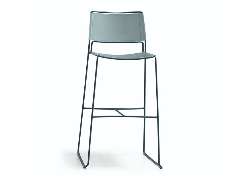 High stool with back Slim H65 / H75 CU by Midj