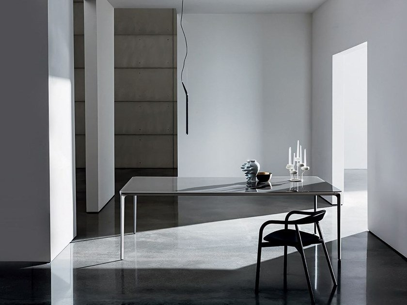 Rectangular glass and aluminium table SLIM RECTANGULAR | Glass table by Sovet italia