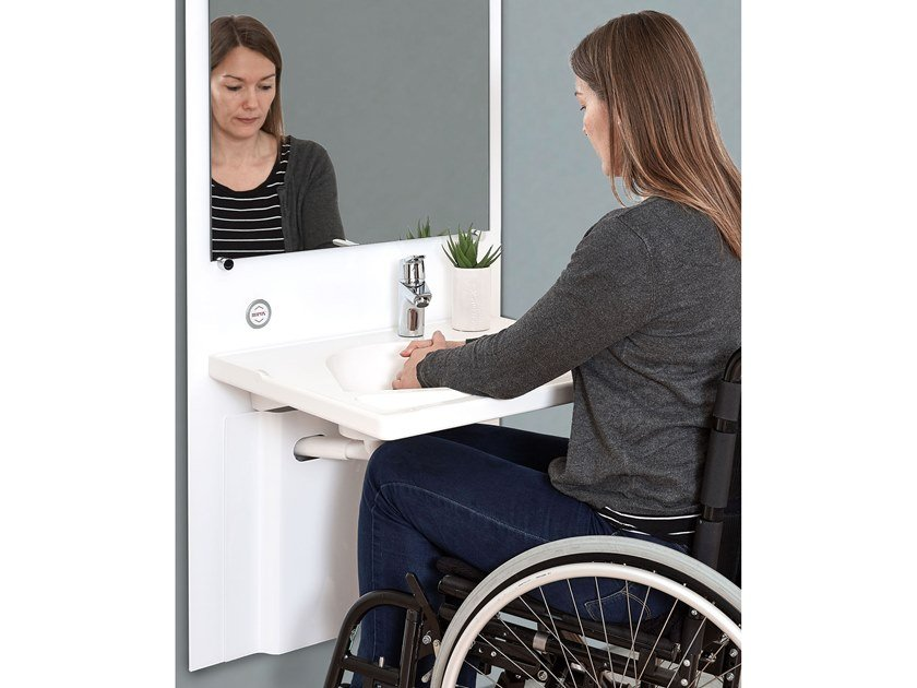 Height-adjustable washbasin for disabled SLIM by Ropox