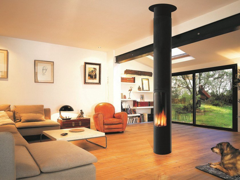 Gas central hanging fireplace slimfocus gas slimfocus for Central fireplace