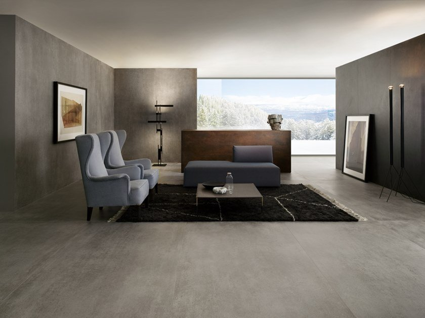 Porcelain stoneware wall/floor tiles with concrete effect SLIMTECH CONCRETO by LEA CERAMICHE