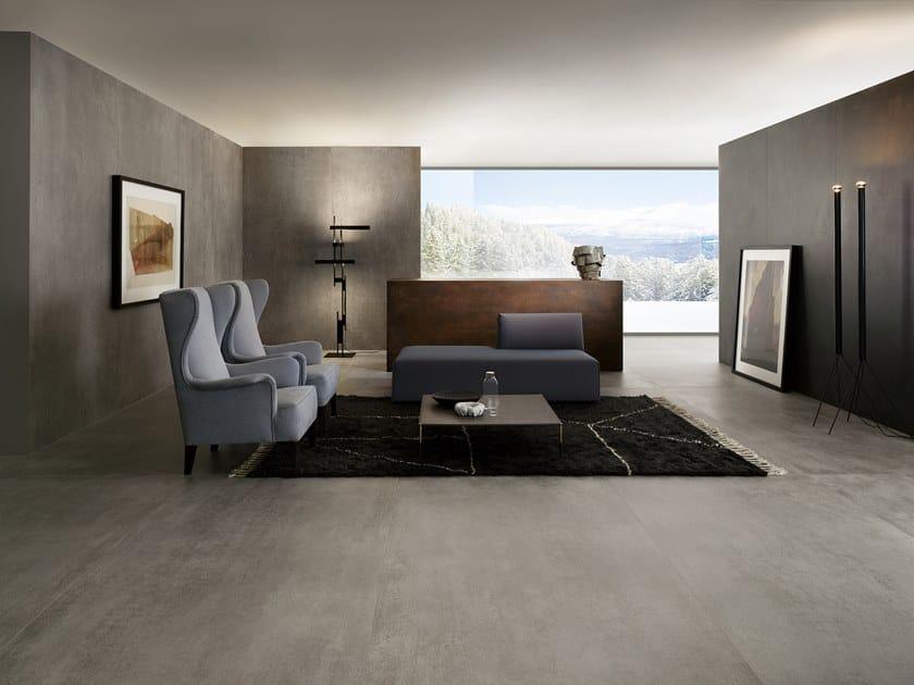 Porcelain stoneware wall/floor tiles with concrete effect SLIMTECH CONCRETO MEDIUM by LEA CERAMICHE