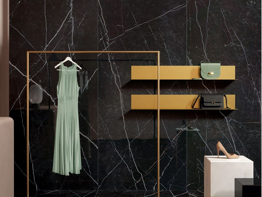 Laminated stoneware wall/floor tiles with marble effect SLIMTECH DELIGHT MARQUINA NERO by LEA CERAMICHE