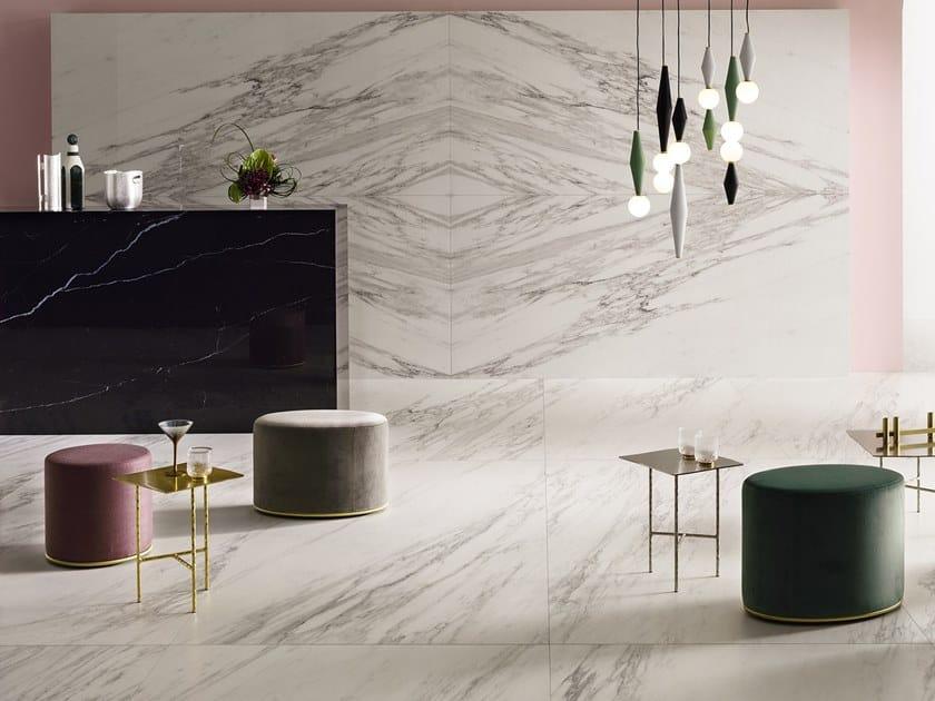 Laminated stoneware wall/floor tiles with marble effect SLIMTECH DELIGHT VENATO BIANCO by LEA CERAMICHE