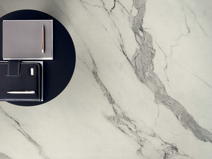 Antibacterial wall/floor tiles with marble effect SLIMTECH FILIGRANE CALACATTA by LEA CERAMICHE