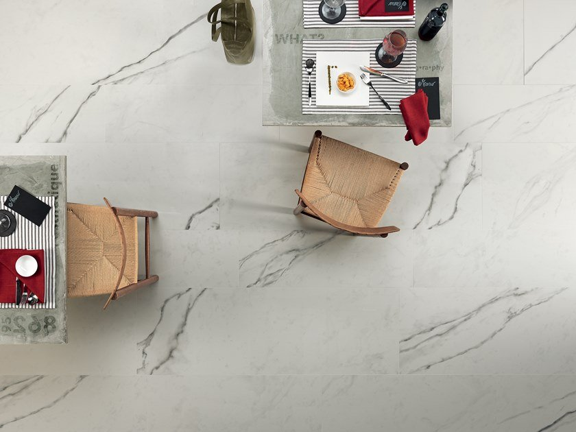 Antibacterial laminated stoneware wall/floor tiles SLIMTECH TIMELESS MARBLE STATUARIO WHITE by LEA CERAMICHE