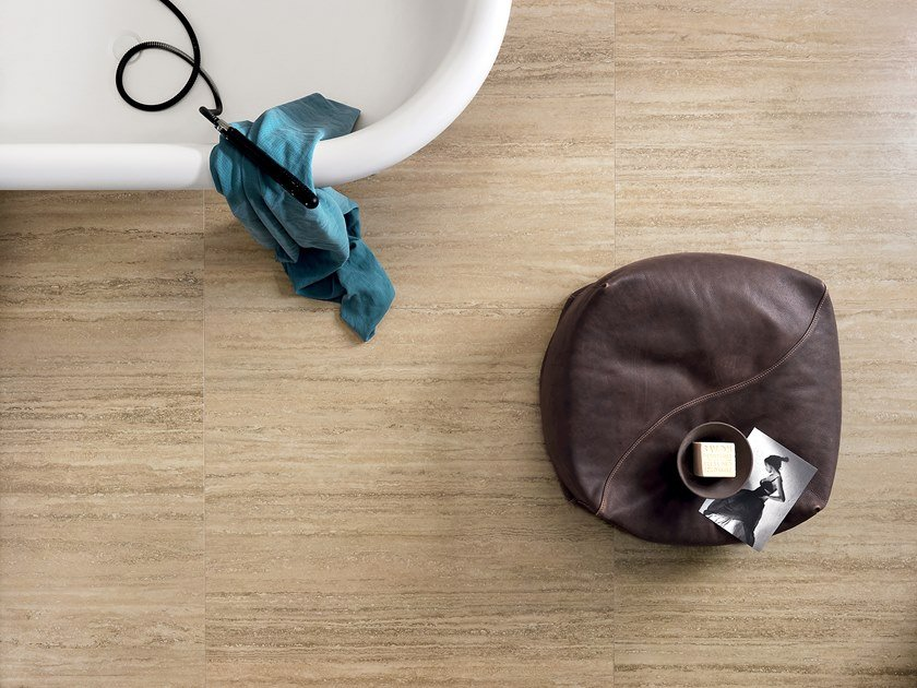 Antibacterial laminated stoneware wall/floor tiles SLIMTECH TIMELESS MARBLE TRAVERTINO by LEA CERAMICHE