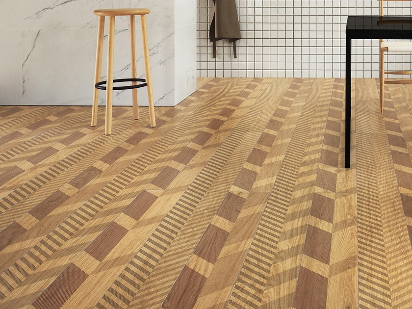 Laminated stoneware wall/floor tiles with wood effect SLIMTECH TYPE 32 HONEY by LEA CERAMICHE