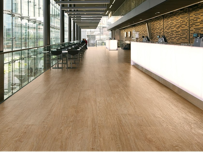 Antibacterial laminated stoneware flooring with wood effect SLIMTECH WOOD STOCK HONEY WOOD by LEA CERAMICHE