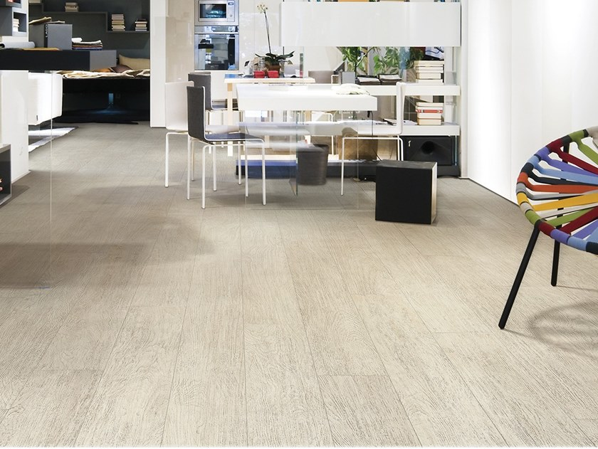 Antibacterial laminated stoneware flooring with wood effect SLIMTECH WOOD STOCK SNOW WOOD by LEA CERAMICHE