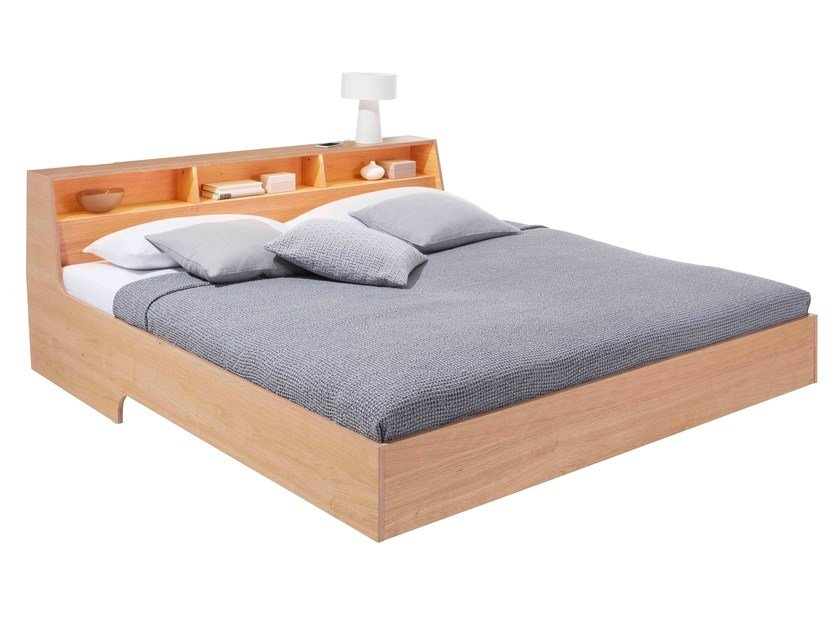 Wooden double bed with storage headboard SLOPE | Bed with storage headboard by Müller Small Living