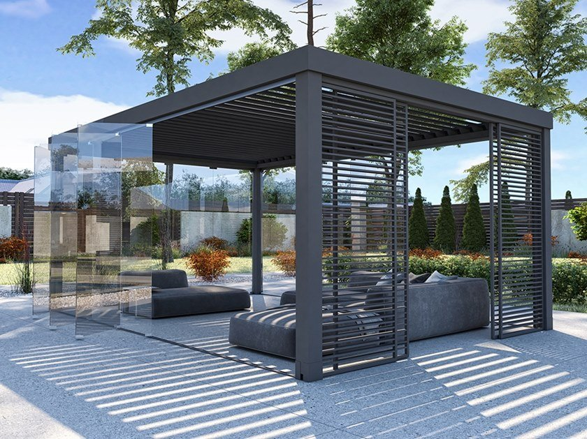 Aluminium pergola with adjustable louvers SLOPE by CTA Tende