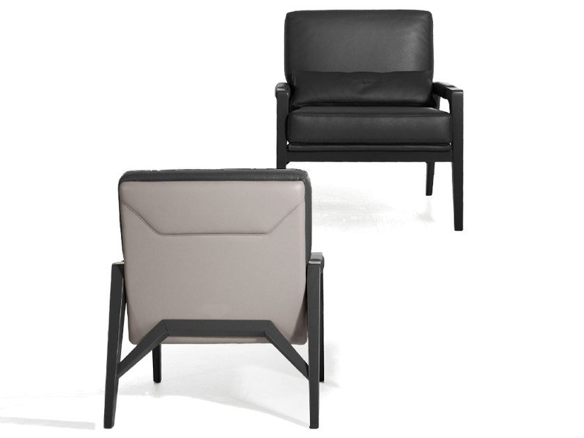 Upholstered leather easy chair with armrests V145 | Easy chair by Aston Martin