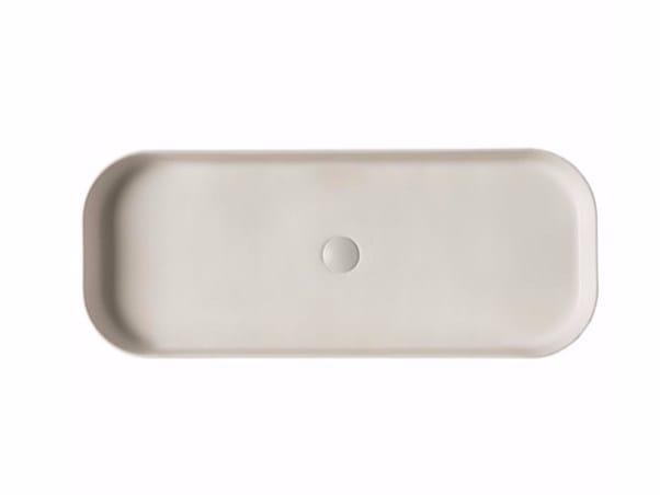 Countertop rectangular ceramic washbasin SMART B - 38x95 cm by GALASSIA