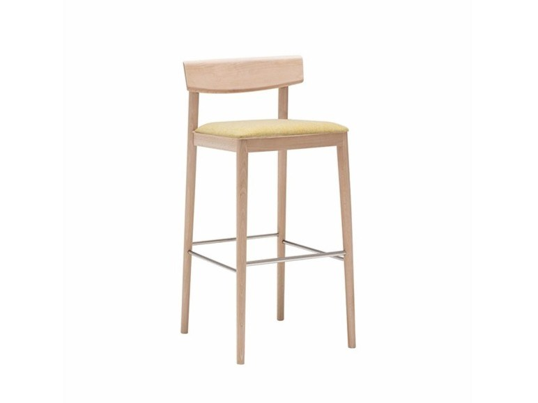 High beech stool with integrated cushion with back SMART BQ0649 / BQ0659 by Andreu World