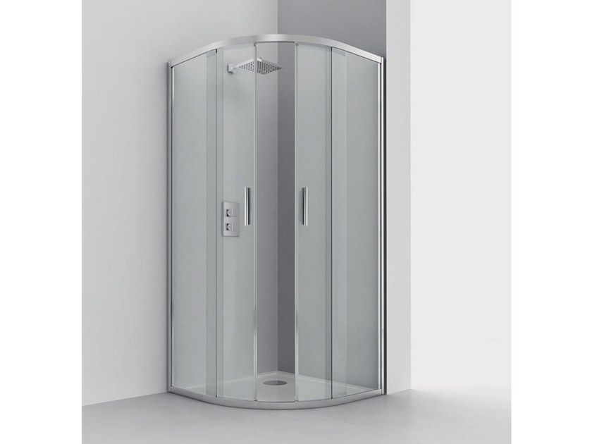 Semicircular shower cabin with tray SMART R2-S by RELAX