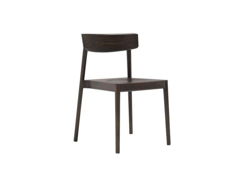 Stackable open back beech chair SMART SI0610 by Andreu World