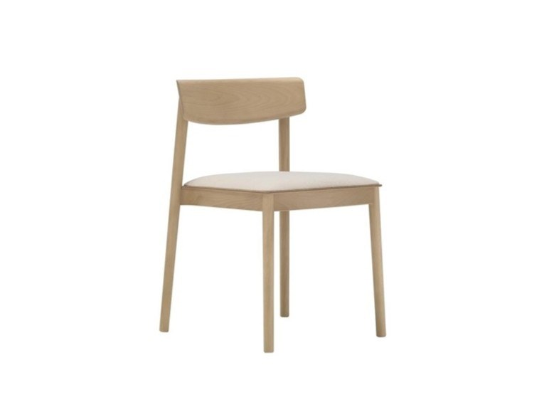 Stackable beech chair with integrated cushion SMART SI0611 by Andreu World
