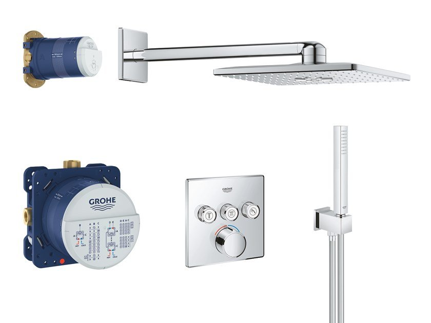 Thermostatic shower set with hand shower with overhead shower SMARTCONTROL 34712000 | Shower set by Grohe