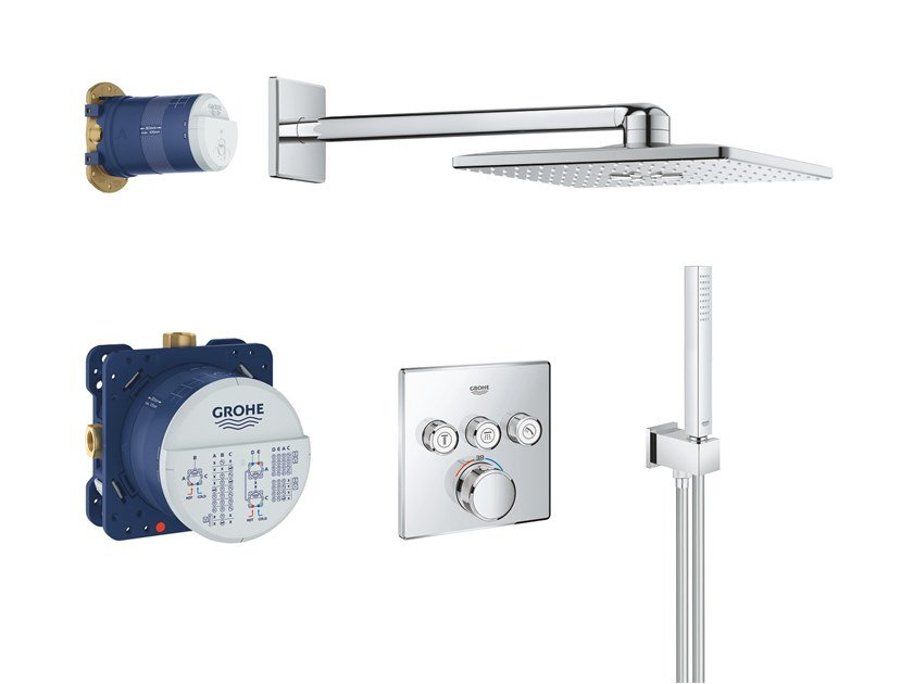 Thermostatic shower set with hand shower with overhead shower SMARTCONTROL 34706000 | Shower set by Grohe