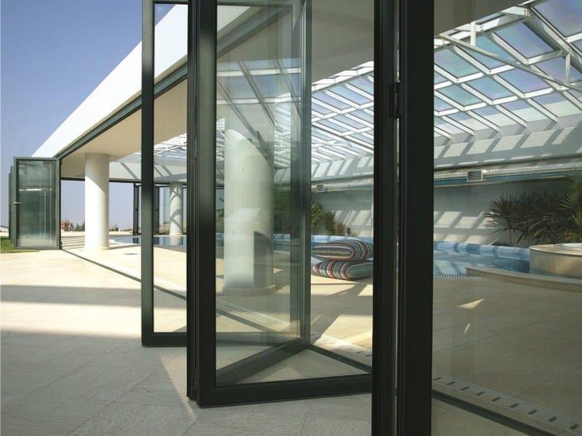 Glass and aluminium folding door SMARTIA M19800 by Alumil