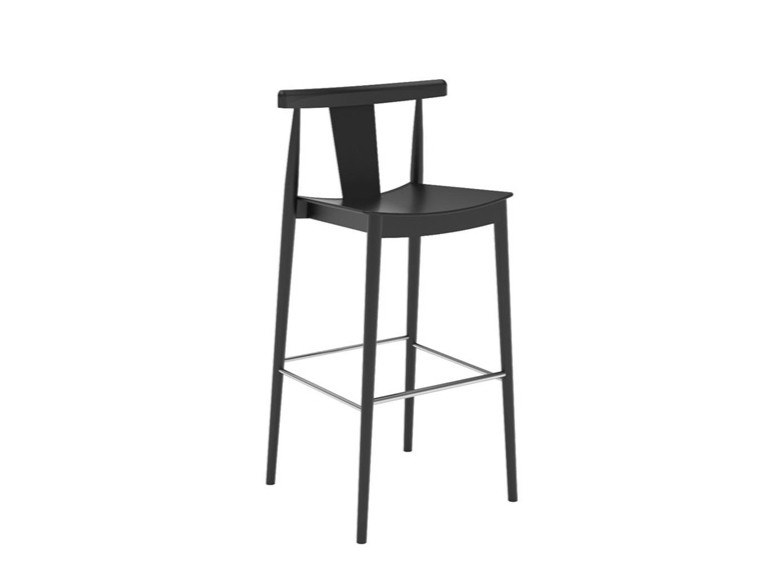 High beech stool with back with footrest SMILE BQ0337 / BQ0348 by Andreu World