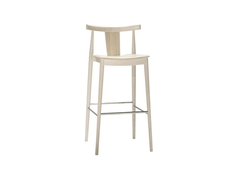 High beech stool with integrated cushion with footrest SMILE BQ0338 / BQ0349 by Andreu World