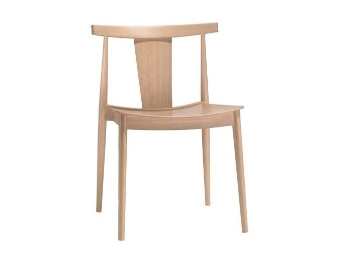 Stackable open back beech chair SMILE SI0325 by Andreu World