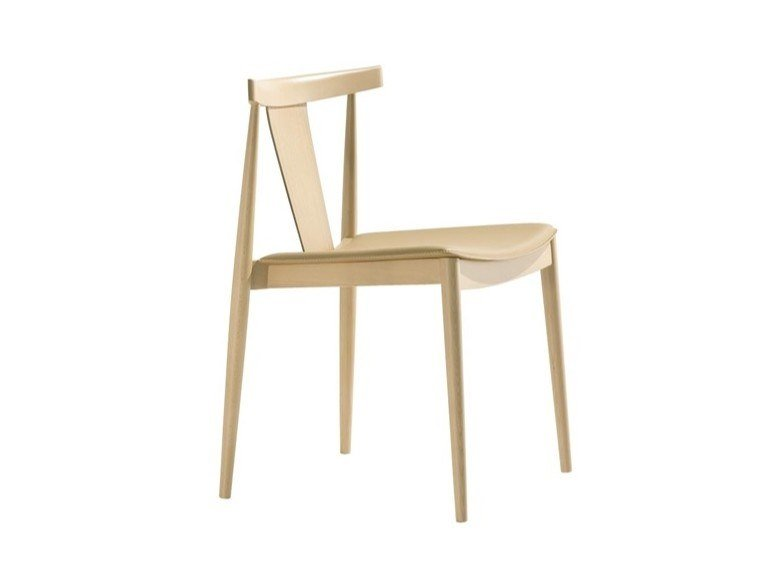 Stackable open back beech chair with integrated cushion SMILE SI0326 by Andreu World