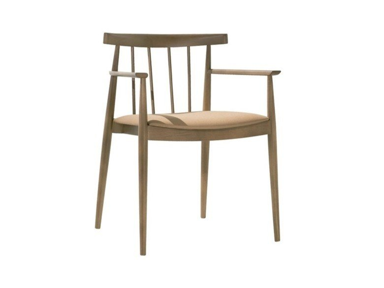 Open back beech chair with armrests with integrated cushion SMILE SO0334 by Andreu World