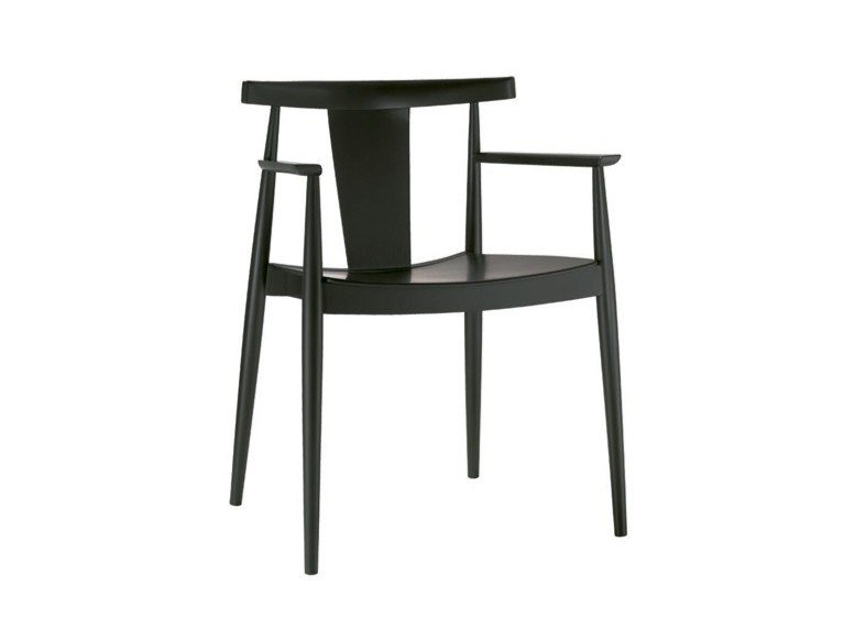 Open back beech chair with armrests SMILE SO0335 by Andreu World
