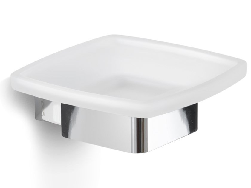 Wall-mounted satin glass soap dish LOUNGE | Soap dish by GEDY