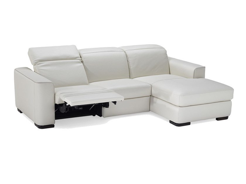 3 seater leather sofa bed with chaise longue DIESIS | Sofa bed with ...