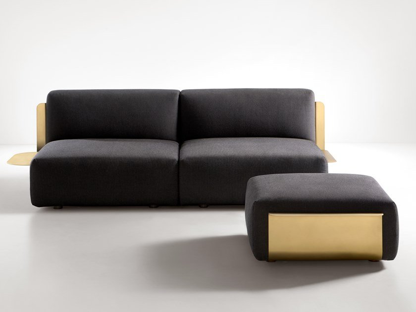 Fabric sofa with brass structure LOOM | Sofa by DE CASTELLI