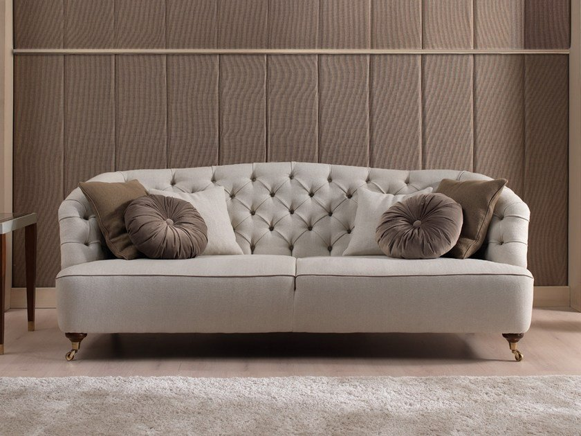 Tufted sofa with casters GRAY | Sofa by Gold Confort