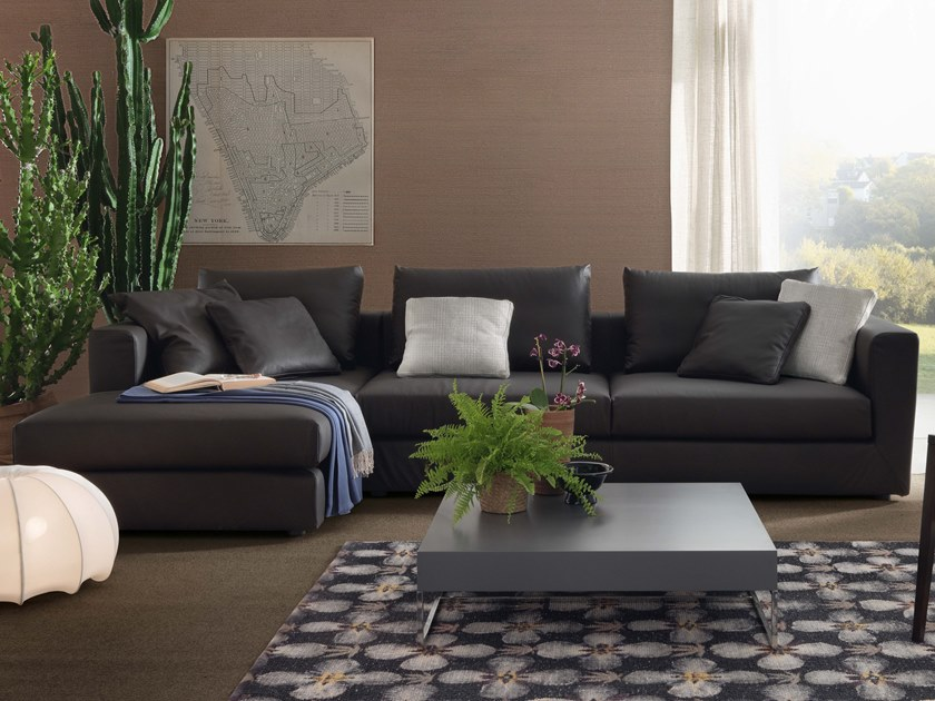 3 seater leather sofa with chaise longue RENÈ LIGHT | Leather sofa by JESSE