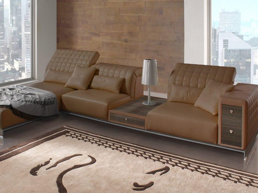 Upholstered leather sofa with chaise longue MISANO | Sofa by Tonino Lamborghini Casa