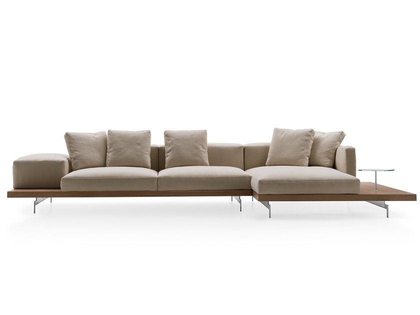 3 seater fabric sofa with chaise longue DOCK | Sofa with chaise longue by B&B Italia
