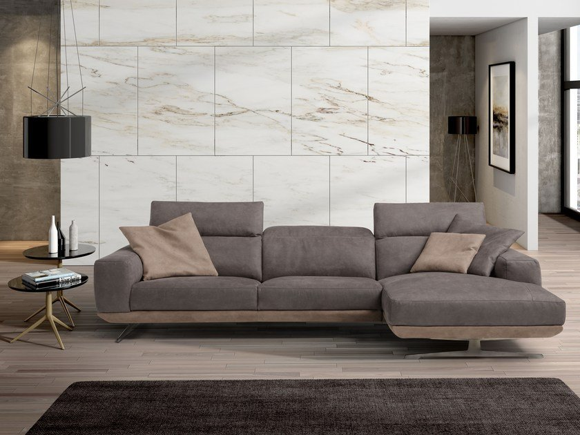 Sectional 3 seater leather sofa with chaise longue GLORIA | Sofa with chaise longue by Egoitaliano