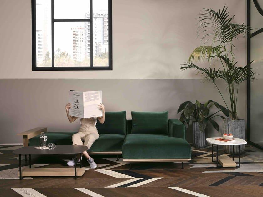 Sofá 3 lugares de tecido com chaise-longues com armazenamento NOAH   Sofá com chaise-longues by Lebom