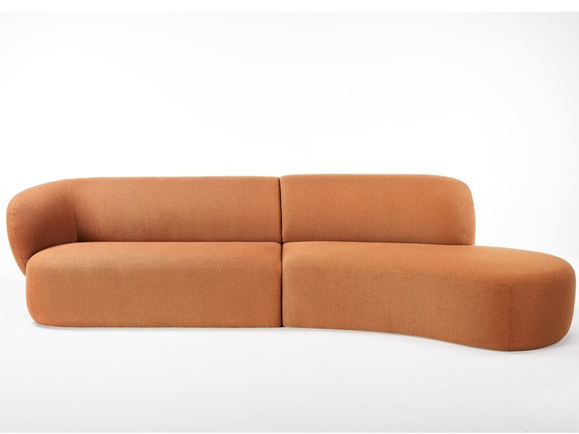 Curved 3 seater fabric sofa with chaise longue SWELL | Sofa with chaise longue by Grado Design