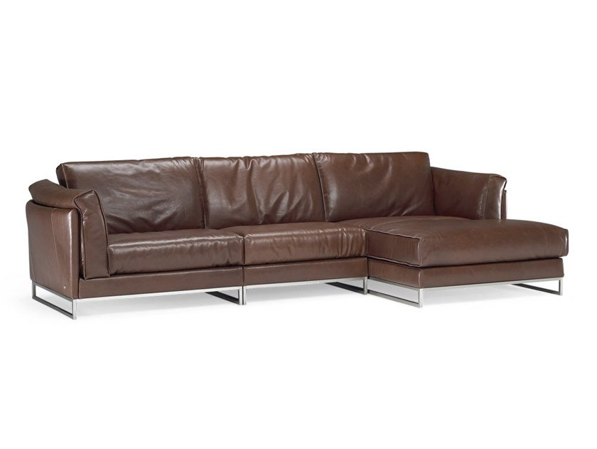 3 seater leather sofa with chaise longue ARMONIA | Sofa with chaise longue by Natuzzi