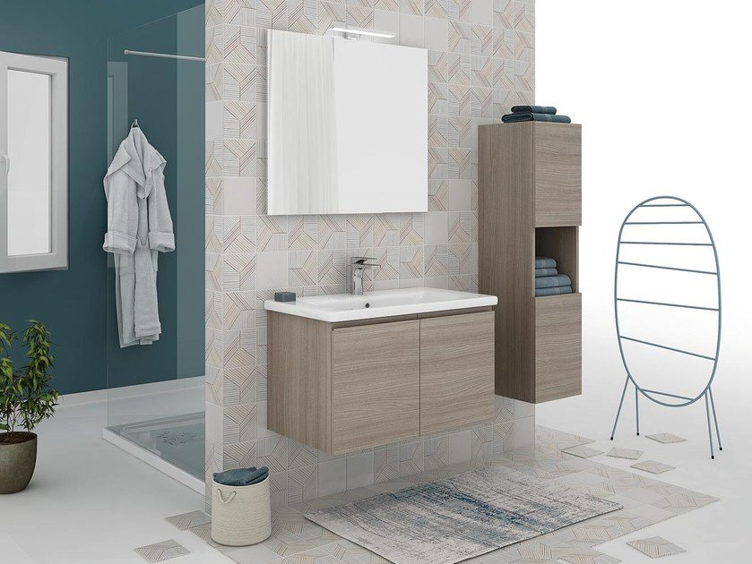 Wall-mounted vanity unit with doors SOFT 01 by LEGNOBAGNO