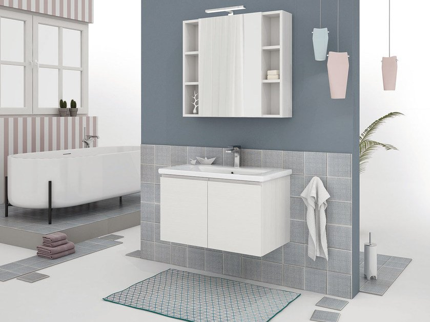 Wall-mounted vanity unit with doors SOFT 02 by LEGNOBAGNO