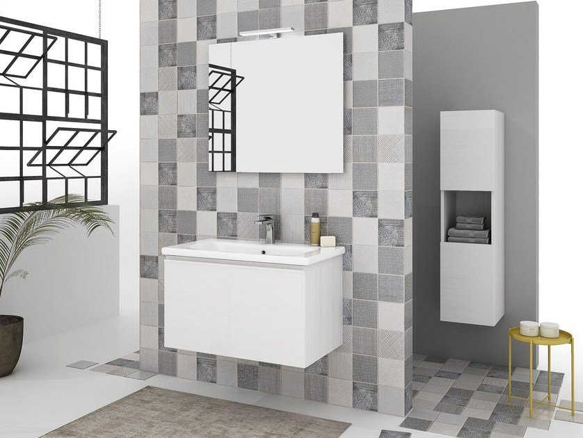 Wall-mounted vanity unit with drawers SOFT 03 by LEGNOBAGNO