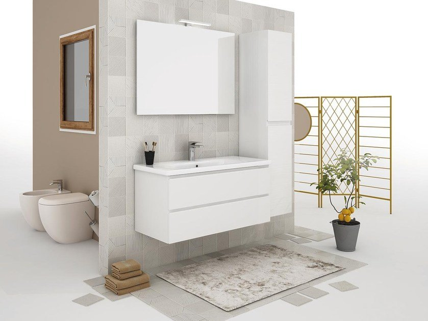 Wall-mounted vanity unit with drawers SOFT 05 by LEGNOBAGNO