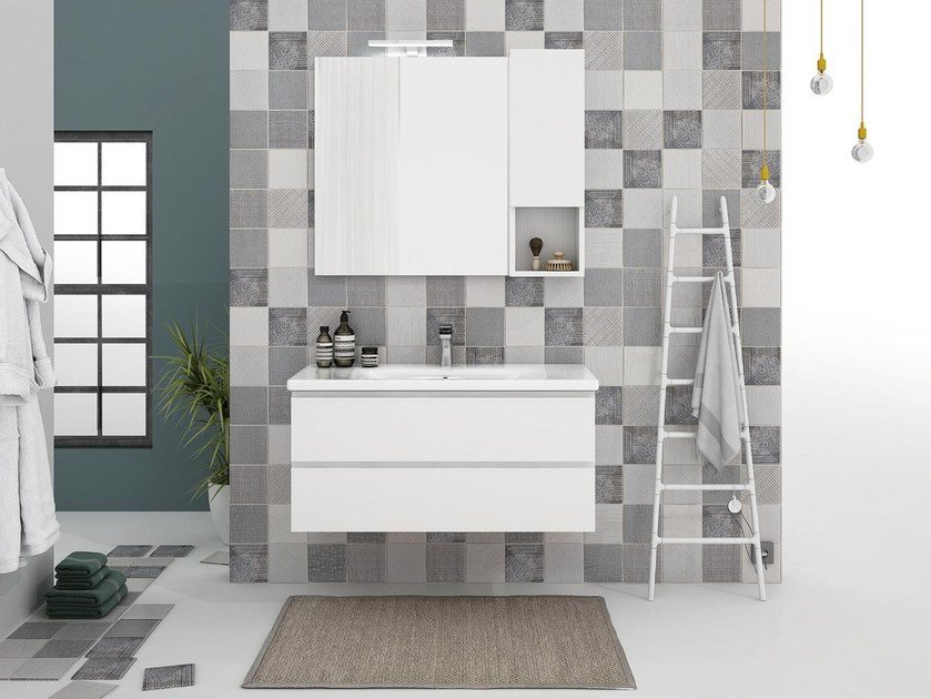 Wall-mounted vanity unit with drawers SOFT 07 by LEGNOBAGNO