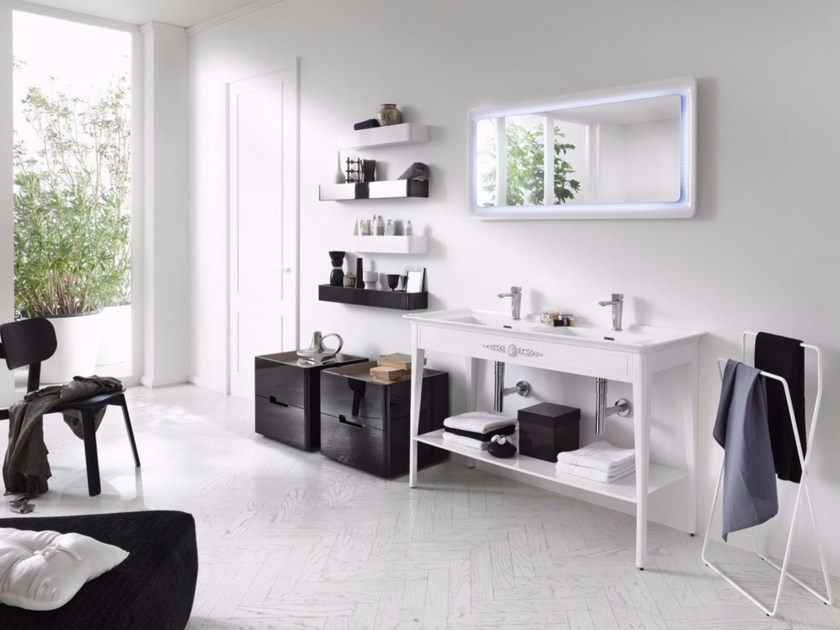 Laminate bathroom cabinet / vanity unit SOFT CONSOLE - Composizione 1 by INDA®